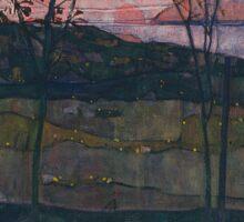 Egon Schiele - Setting Sun 1913  Expressionism Landscape Sticker