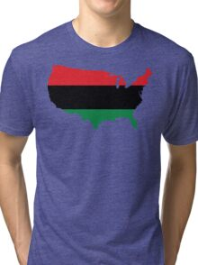 African American _ Red, Black & Green Colors Tri-blend T-Shirt