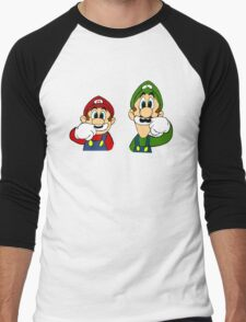 Hipster Mario Bros  Men's Baseball ¾ T-Shirt