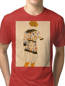 Egon Schiele - Standing Woman in a Patterned Blouse 1912 Tri-blend T-Shirt