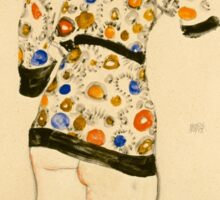 Egon Schiele - Standing Woman in a Patterned Blouse 1912 Sticker