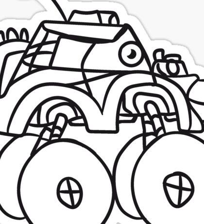 cool giant monster truck comic eyes face cartoon cars turbo Sticker