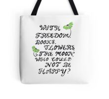 freedom, books, flowers, and the moon Tote Bag