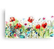Colorful Watercolors Spring Flowers Illustration Canvas Print