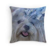 dog and hydrangea in the garden Throw Pillow