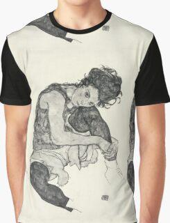 Egon Schiele - Zeichnungen I. 1917  Expressionism Woman Portrait Graphic T-Shirt