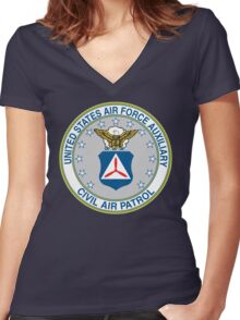 Civil Air Patrol Seal Women's Fitted V-Neck T-Shirt