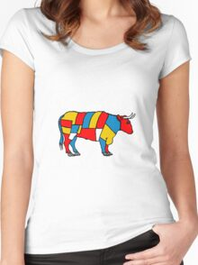 Mondrian Cow Women's Fitted Scoop T-Shirt