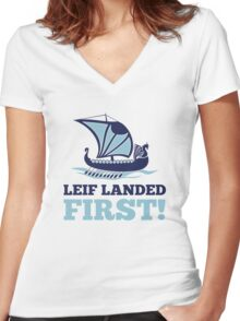 Leif landed first!  Women's Fitted V-Neck T-Shirt