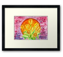 Tulip Flower Bouquet - Watercolor Painting Framed Print