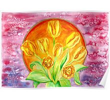 Tulip Flower Bouquet - Watercolor Painting Poster