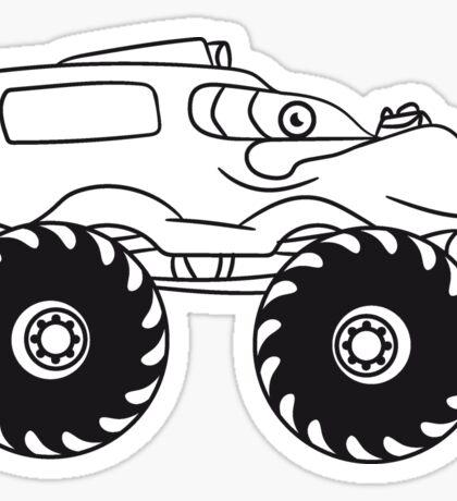 cool monster truck comic eyes face cartoon cars Sticker