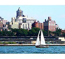 New York - Sailboat Against Manhattan Skyline Photographic Print