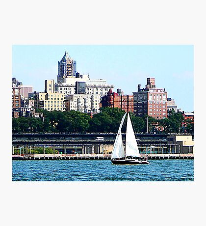 New York - Sailboat Against Manhattan Skyline Photographic Print