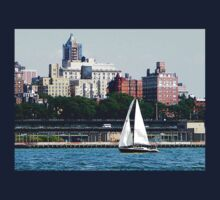 New York - Sailboat Against Manhattan Skyline One Piece - Long Sleeve