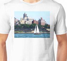 New York - Sailboat Against Manhattan Skyline Unisex T-Shirt