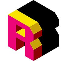 Letter R Isometric Graphic Photographic Print