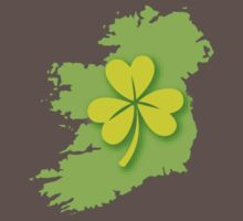 IRELAND map with a shamrock One Piece - Short Sleeve