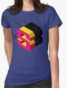 Letter S Isometric Graphic Womens Fitted T-Shirt