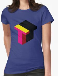 Letter T Isometric Graphic Womens Fitted T-Shirt