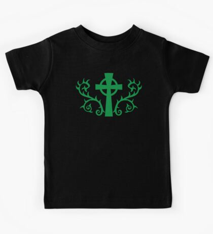 Green gothic cross with thorns Kids Tee