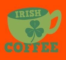 Irish Coffee with cute mug and shamrock Kids Tee