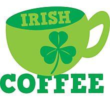Irish Coffee with cute mug and shamrock Photographic Print