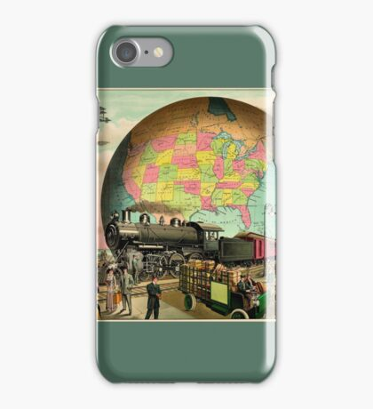 1910 Modern transportation train, truck, plane, ship, globe iPhone Case/Skin