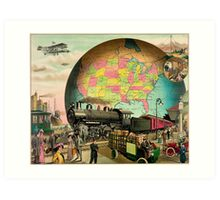 1910 Modern transportation train, truck, plane, ship, globe Art Print