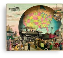 1910 Modern transportation train, truck, plane, ship, globe Canvas Print