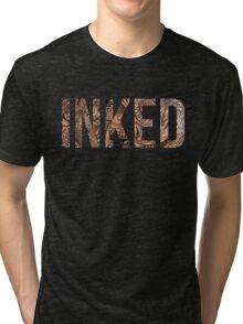 Inked - Tattoo Design - on black Tri-blend T-Shirt
