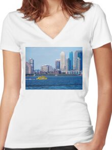 New York Water Taxi Women's Fitted V-Neck T-Shirt