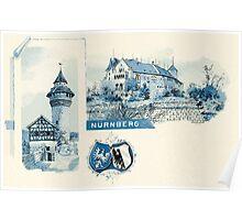 Vintage 1890s litho Nuernberg Nuremberg blue litho Poster