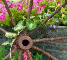 Vintage Wheel Garden Scene - Digital Oil  Sticker