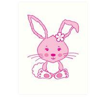 Easter pink bunny rabbit graphic Art Print