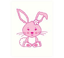 Easter pink bunny rabbit graphic Art Print