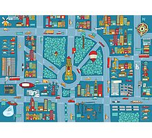 Complex busy cute city map Photographic Print