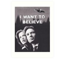 Original Charcoal Drawing of X Files I Want to Believe Art Print