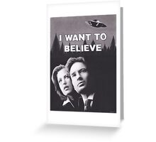 Original Charcoal Drawing of X Files I Want to Believe Greeting Card