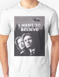 Original Charcoal Drawing of X Files I Want to Believe T-Shirt