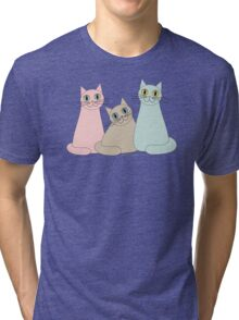 THREE HAPPY CATS Tri-blend T-Shirt