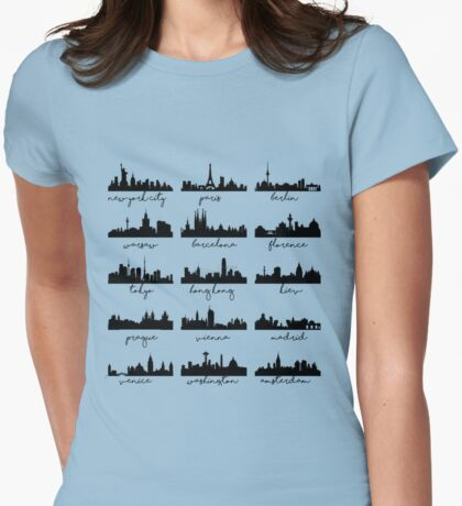 World's skylines Womens Fitted T-Shirt