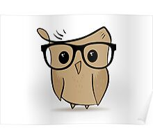 Cute Smart Hipster Owl Poster