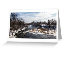 Mill on a river in winter Greeting Card