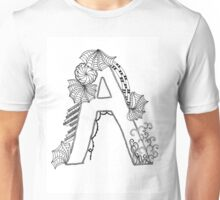 """A"" Zentangle monogram - black Unisex T-Shirt"