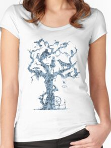 Floral Fairy Tale Tree Women's Fitted Scoop T-Shirt