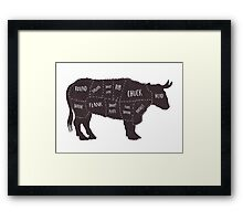 Primitive Butcher Shop Beef Cuts Chart 2 Framed Print