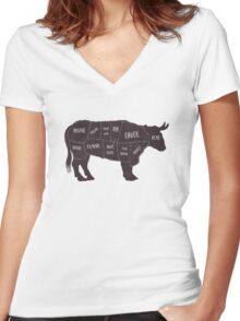 Primitive Butcher Shop Beef Cuts Chart 2 Women's Fitted V-Neck T-Shirt
