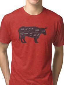 Primitive Butcher Shop Beef Cuts Chart 2 Tri-blend T-Shirt