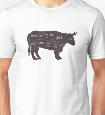 Primitive Butcher Shop Beef Cuts Chart 2 Unisex T-Shirt